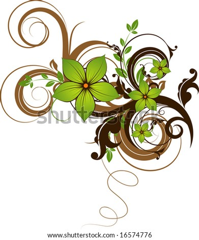 Floral abstraction. Vector format is added. Suits well for design. - stock vector