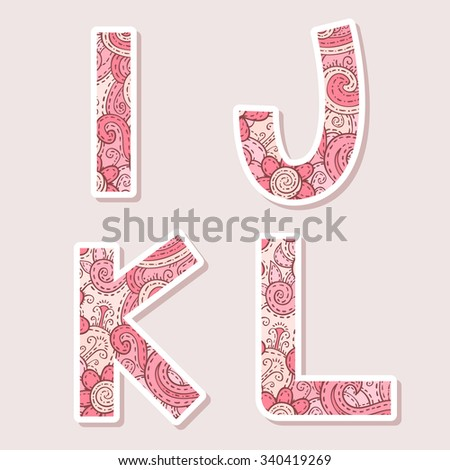 Floral alphabet design in pink colors on a grey background - stock vector