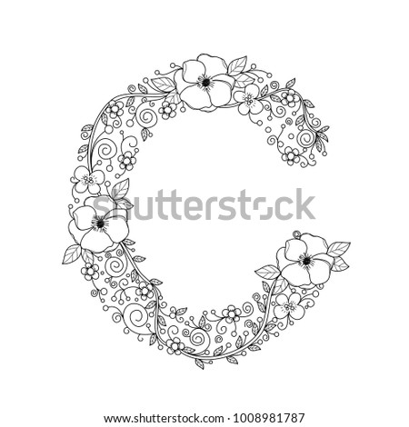 Floral Alphabet Letter C Coloring Book Stock Vector 1008981787 ...