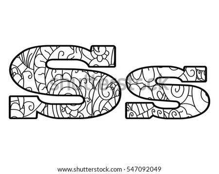 Floral Letters Coloring : Set beautiful letters floral ornaments k stock vector 299138540