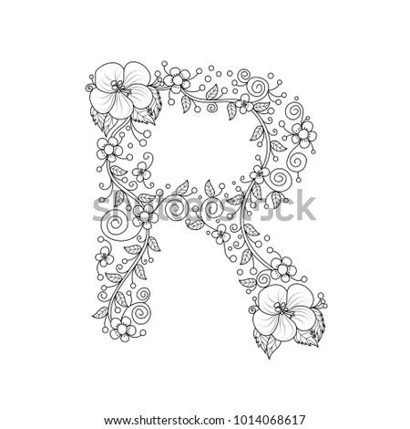 Floral Alphabet Letter R Coloring Book For Adults Vector IllustrationHand DrawnDoodle