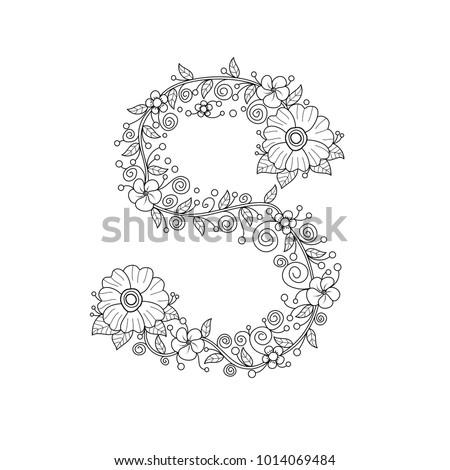 Floral Alphabet Letter S Coloring Book For Adults Vector IllustrationHand DrawnDoodle