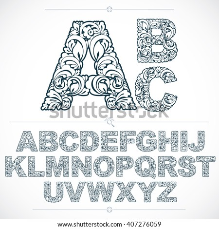 Floral Letters Coloring : Floral alphabet letter g with leaves for organic eco or bio