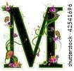 Floral Alphabet - Vector - stock vector