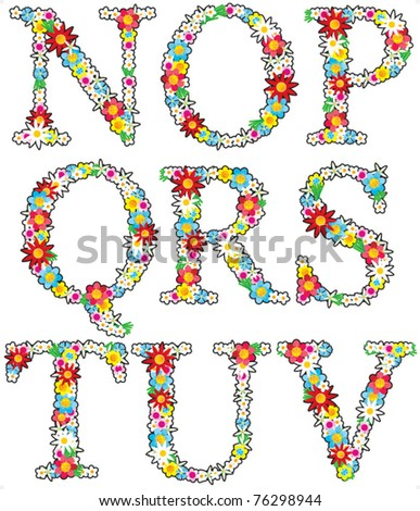 Floral alphabet vector set, letters N - V, isolated on white background ( for high res JPEG or TIFF see image 76298545 )