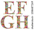 Floral alphabet, vintage letters e f g h. - stock photo