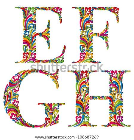 Floral alphabet, vintage letters e f g h. - stock vector