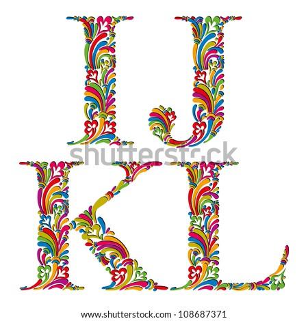 Floral alphabet, vintage letters i j k l. - stock vector