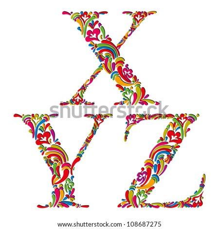 Floral alphabet, vintage letters x y z. - stock vector