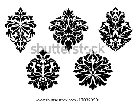 Floral and foliate damask design elements set isolated on white. Rasterized version also available in gallery - stock vector