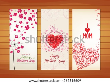 Floral and heart Mother's Day Cards - stock vector