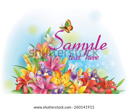 Floral arrangement made of lilies and irises  - stock vector