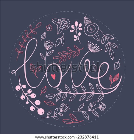 Floral art nature love sign with hand drawn elements design. Flower and leaf, brunch ornament - stock vector