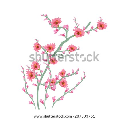 Floral Art Watercolor painting flower pink - stock vector