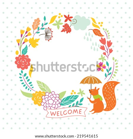 floral autumn frame,  lettering welcome, vector illustration  - stock vector