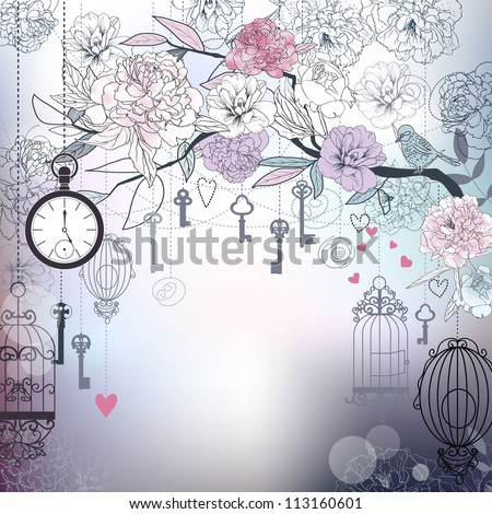 Floral background. Birds, cages, clock, keys, peonies. EPS10 - stock vector