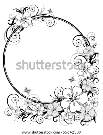 Floral background, black-and-white background, vector illustration. EPS8, all parts closed, possibility to edit. - stock vector