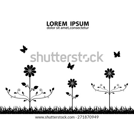 Floral background. Black floral silhouette. EPS10 vector - stock vector