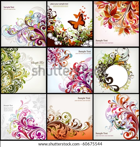 floral background collection - stock vector