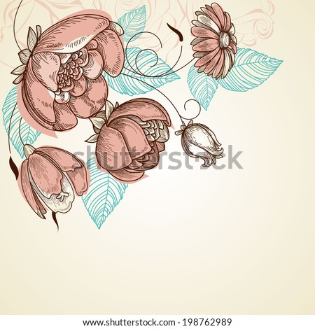 Floral background, corner decoration, pink rose bouquet - stock vector