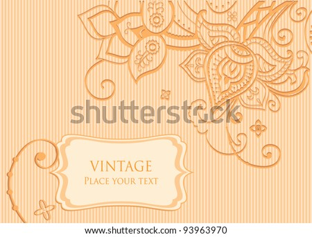 Floral background decorative indian style flowers and place for your text - stock vector