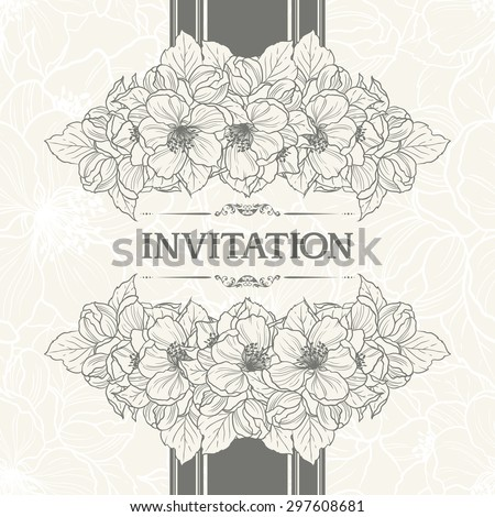 Floral background design in vintage style. Vector botanical illustration. Template greeting card, wedding invitation banner with spring flowers. Sketch linear apple cherry blossom sakura flowers - stock vector
