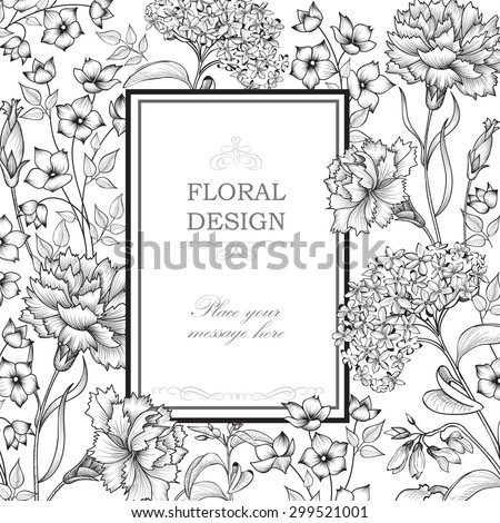Floral background. Flower bouquet border. Floral vintage cover. Flourish card with copy space. - stock vector