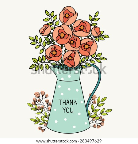Floral background. Flowers in jar. Spring concept wallpaper with roses - stock vector