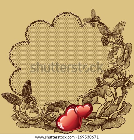 Floral background for Valentine's day, vector illustration. - stock vector