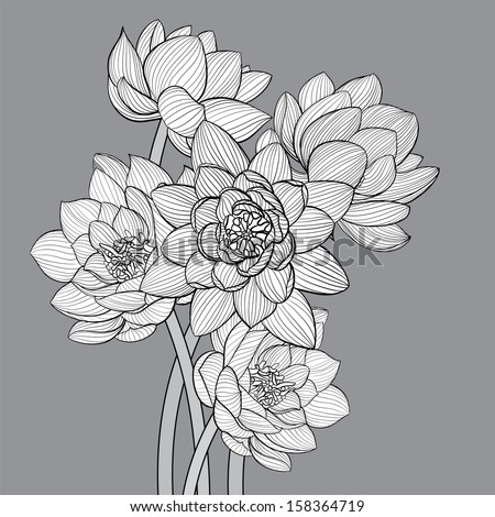 Floral background illustration on gray background - stock vector
