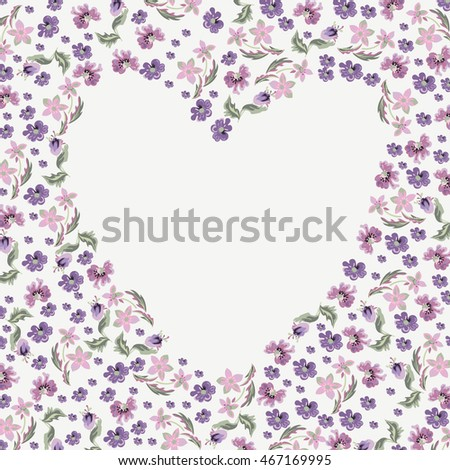Floral background in a heart.