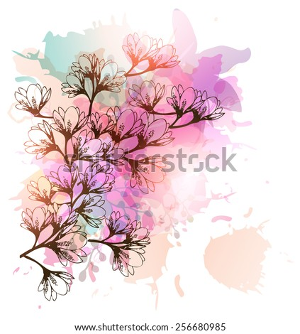 Floral Background-Magnolia Flowers - stock vector