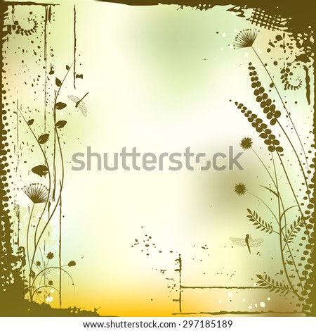 Floral background, meadow in summer time - vector illustration - stock vector