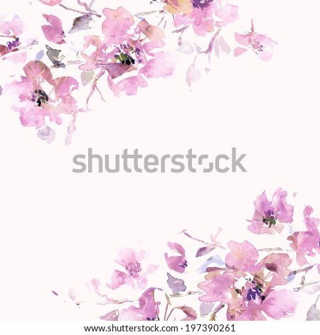 Floral background. Sakura. Watercolor floral bouquet. Birthday card. - stock vector