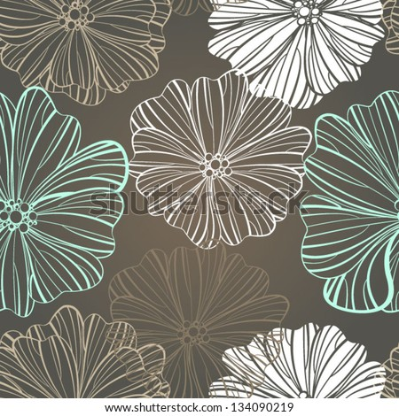 Floral background Seamless floral pattern with stylized flower  Seamless vector background. - stock vector