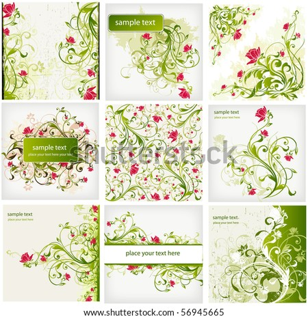 floral background set - stock vector