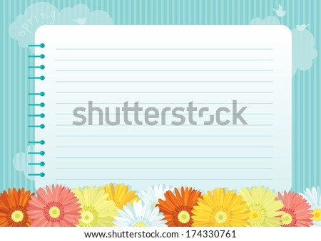Floral background. Spring flowers and page of  spiral exercise book on abstract background  - stock vector