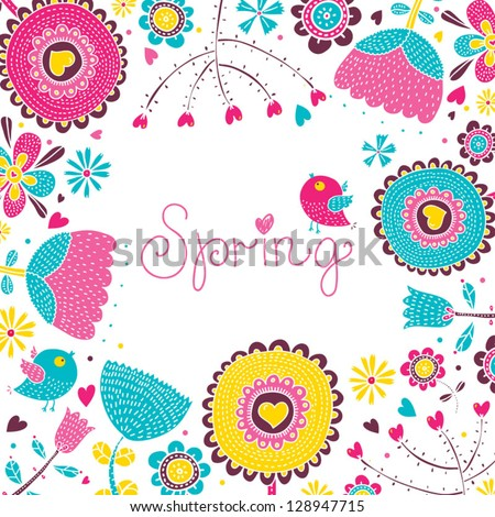 Floral background, spring theme, greeting card. - stock vector