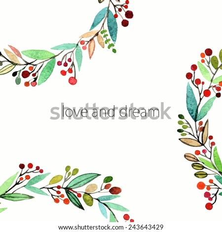 Floral background. Watercolor floral bouquet. Invitation. Floral border. - stock vector