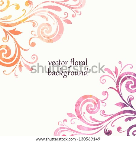 Floral background. Watercolor style. - stock vector