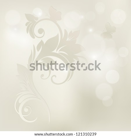 Floral background. Wedding card or invitation with abstract flora background. Greeting card. Elegance pattern with flowers in vintage style.Card for mothers day. - stock vector