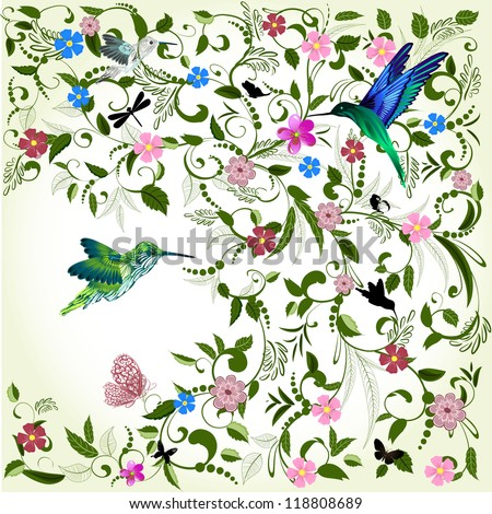 Floral background with bird - stock vector