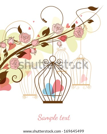 Floral background with birdcages and hearts