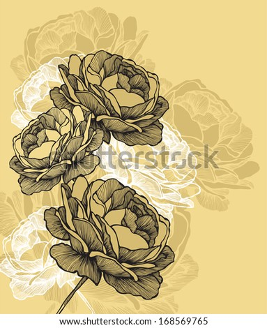 Floral background with blooming roses, hand-drawing. Vector illustration - stock vector