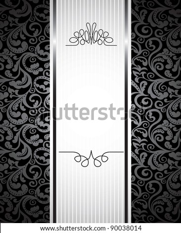 floral background with copy space for text - vector illustration in black and white - stock vector