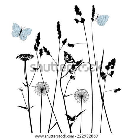 Floral background with dandelions - stock vector