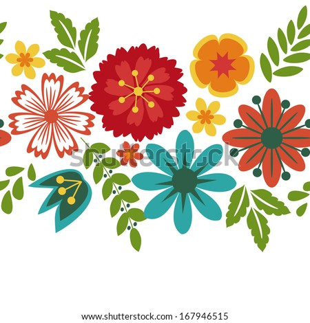 Floral background with decorative pattern - stock vector
