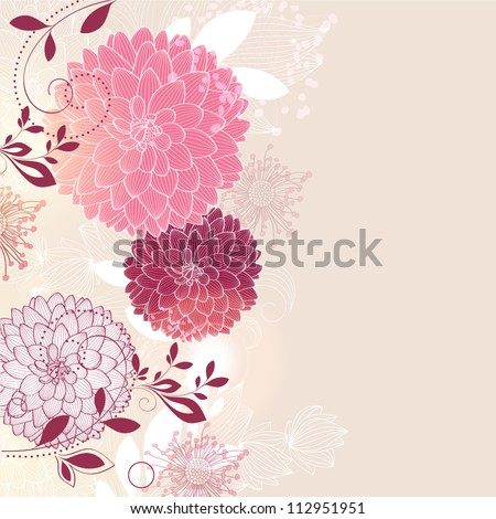 Floral background with flower dahlia. Element for design. Vector illustration. - stock vector