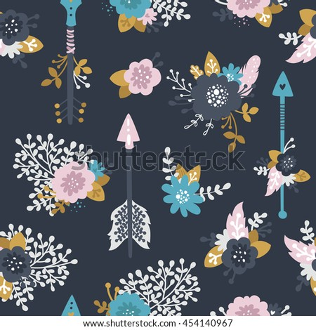 Floral Background With Flowers Arrows Feathers Branches And Gold Decorative Elements Boho