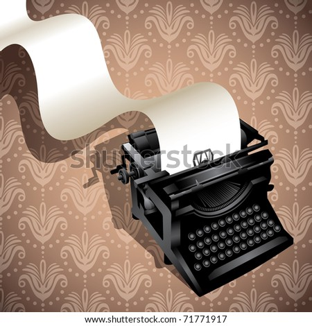 Floral background with illustrated typewriting machine. Vector illustration. - stock vector